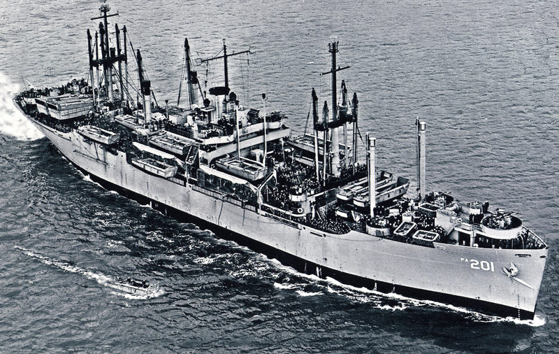 "The USS Menard carried U.S. troops home as part of ""Operation Magic Carpet"" in 1945 and 1946. (Photo courtesy Howard Cederlund)"