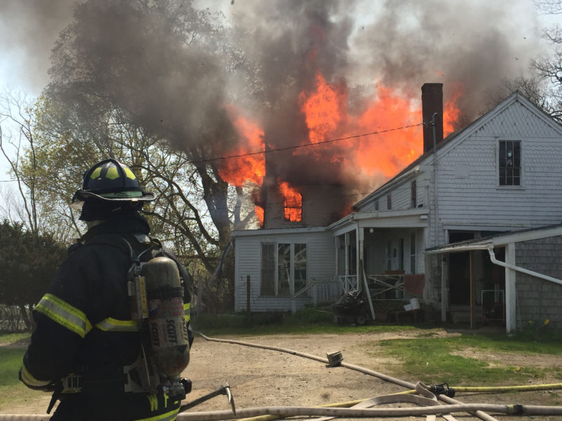Fire destroys the house at 38 South Dyer Neck Road in Newcastle on Thursday afternoon, May 12. (Maia Zewert photo)