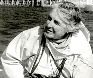 Documentary photographer Olive Pierce in 1995, in a boat off the Maine coast. (Photo courtesy Laurence Pierce)