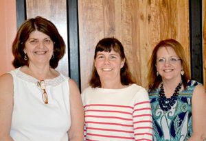 From left: outgoing Whitefield representatives to the RSU 12 Board of Directors Joan Morin, Hilary Holm, and Malinda Caron were honored at their final board meeting Thursday, June 16. (Abigail Adams photo)