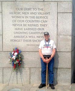 Ralph Bond, of Jefferson, visits the World War II Memorial in Washington, D.C. (Photo courtesy Julie Stegna)