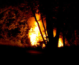 A Subaru Forester burns off North Clary Road in Jefferson the evening of Tuesday, June 28. (Paula Roberts photo)