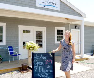 Andrea Reny outside The Anchor, the restaurant she owns with her husband in Round Pond. The Anchor now serves brunch on Sundays. (Haley Bascom photo)
