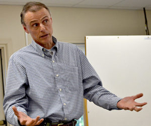 Maine Department of Transportation Project Manager Deane Van Dusen speaks during a meeting Monday, June 6 about the department's plans to place a conservation easement on more than 130 acres around Sherman Marsh. (Maia Zewert photo)