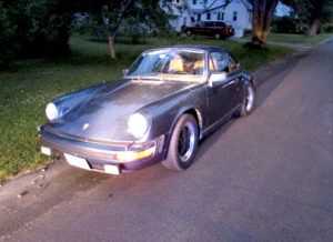 The Porsche that two teenage boys from Whitefield and Farmingdale allegedly stole Tuesday, June 21 and left on Bowman Street in Augusta. (Photo courtesy Maine State Police)