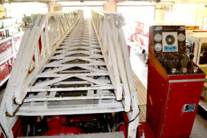 The ladder and control panel on the Wiscasset Fire Department's ladder truck on June 29. (Abigail Adams photo)