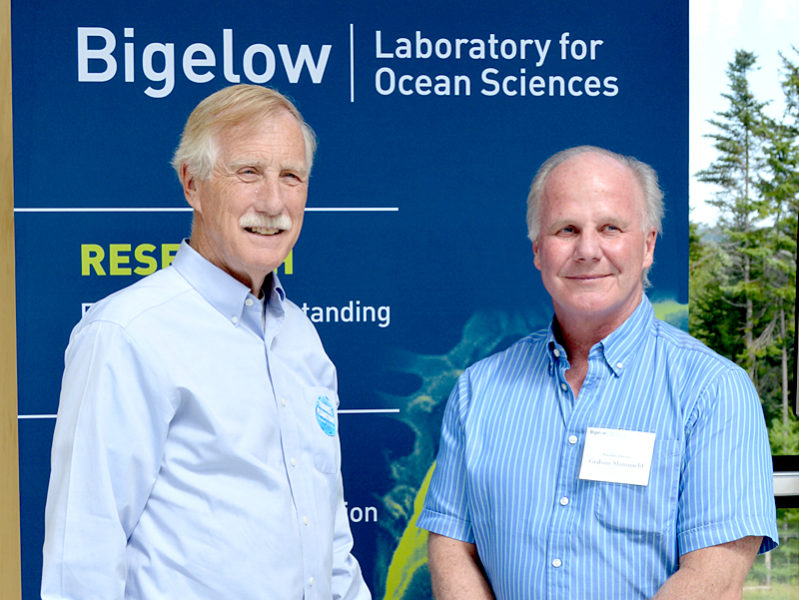 U.S. Sen. Angus King (left) stands with Bigelow Laboratory for Ocean Sciences Executive Director Graham Shimmield during the lab's open house Friday, July 15. (Haley Bascom photo)