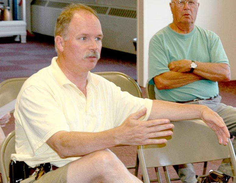 Bremen Assessors' Agent Jim Murphy discusses the town's mil rate with the Bremen Board of Selectmen on Thursday, July 21. (Alexander Violo)