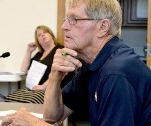 Damariscotta Civil Emergency Preparedness Director Steve O'Bryan discusses the Lincoln County Hazard Mitigration Plan during the Damariscotta Board of Selectmen's meeting Wednesday, July 6. (Maia Zewert photo)