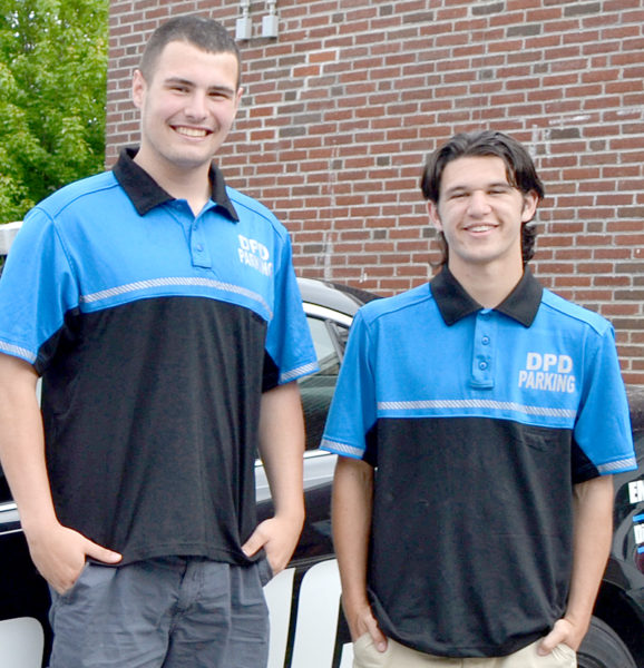 From left: Westleigh Munroe, of Whitefield, and Gabe Solorzano, of Jefferson, have joined the Damariscotta Police Department as parking enforcement officers for the summer. (Maia Zewert photo)