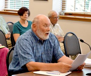 Stepping Stone Housing Inc. board member Bill Hain updates the Damariscotta Planning Board on the nonprofit's plans for the former Blue Haven property Monday, July 11. (Maia Zewert photo)