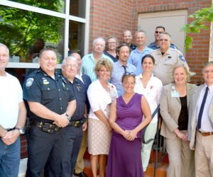 Officials from every law enforcement agency in Lincoln County, as well as LincolnHealth, the Mid Coast Hospital Addiction Resource Center, and the CLC YMCA, gathered to sign a memorandum of understanding in Damariscotta on Friday, July 15. The ceremony officially launched the Lincoln County Recovery Collaborative, an outreach and treatment program for heroin and opioid addicts. (Abigail Adams photo)