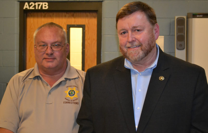 Oxford County Jail Administrator Edward Quinn (left) and Two Bridges Regional Jail Administrator Col. Mark Westrum attend a meeting of the Lincoln and Sagadahoc Multicounty Jail Authority Board of Directors on Wednesday, July 27. (Abigail Adams photo)