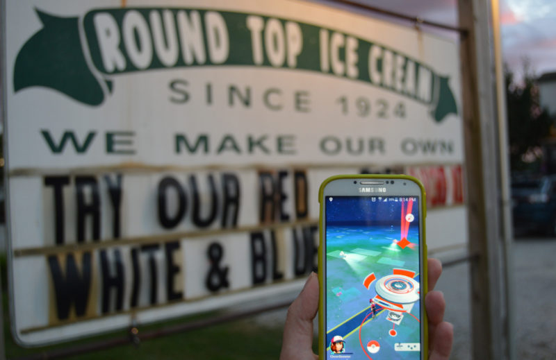 Round Top Ice Cream is a Pokemon Gym in the Pokemon Go app. As of Tuesday, July 19, the gym remains under the control of Team Valor, one of three teams within the game that battle for control over the gyms. (Haley Bascom photo)