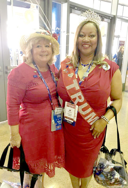 Barbara Campbell Harvey (left) reunites with Linda Lee Traver, a National Federation of Republican Women cohort from Michigan, on the opening day of the Republican National Convention in Cleveland on July 18. (Photo courtesy Barbara Campbell Harvey)
