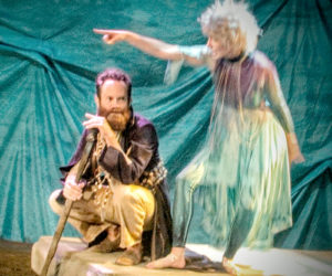 Prospero (Steven Shema) and Ariel (Helena Farhi) plot to regain Prospero's stolen dukedom and free him from his island prison. (Eleanor Cade Busby photo)