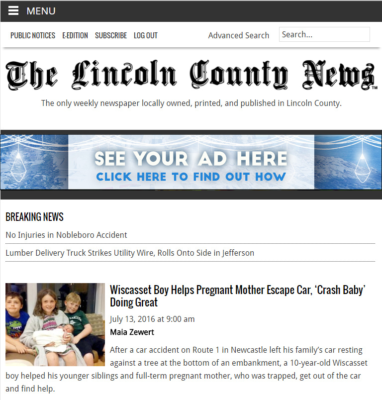A screenshot of a tablet view of the new website. The site is responsive, meaning it automatically adjusts to the size of a reader's screen.