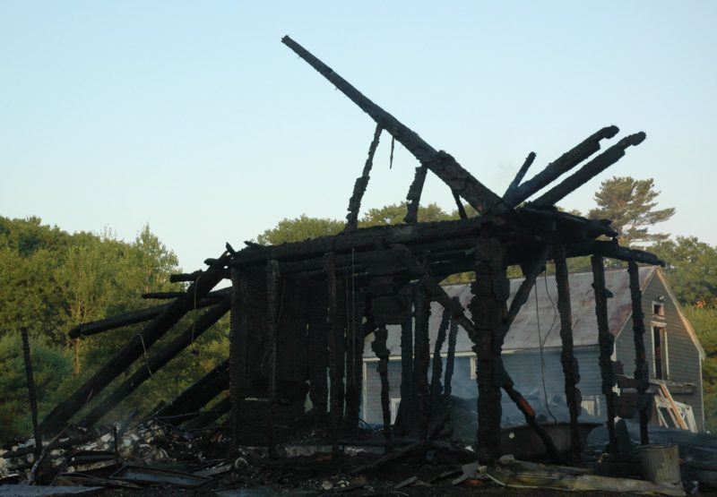 Though the home was destroyed, fire crews saved an adjacent barn. (Alexander Violo photo)