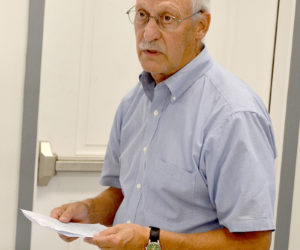 Jim Hebert, of Black Diamond Consultants, presents an application for the construction of a U.S. Cellular cellphone tower on Townhouse Road to the Whitefield Planning Board on Wednesday, July 20. (Abigail Adams photo)