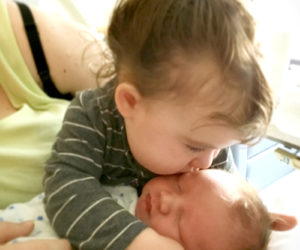 Fiona Eugley welcomes her little brother, Connor.