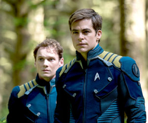 "The late Anton Yelchin (left) and Chris Pine in a scene from ""Star Trek Beyond,"" which premieres this week at The Harbor Theatre, Boothbay Harbor."