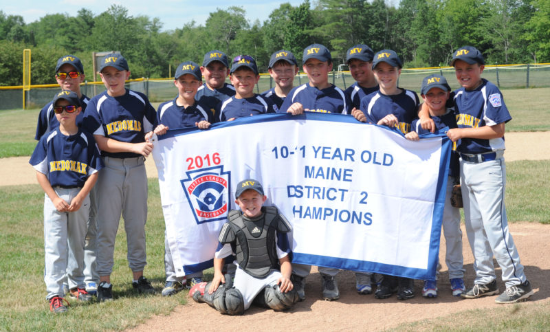 Medomak Valley 10&11 Little League baseball all-stars won the District 2 championship on July 23 with an 8-2 win over Oceanside in Waldoboro.
