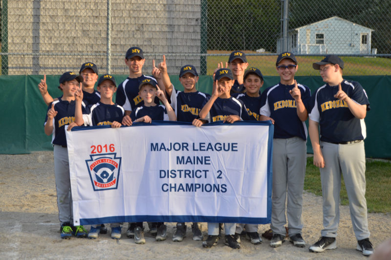 Medomak Valley 11&12 Little League baseball all-stars won the District 2 championship on July 19 at Knox. (Carrie Reynolds photo)