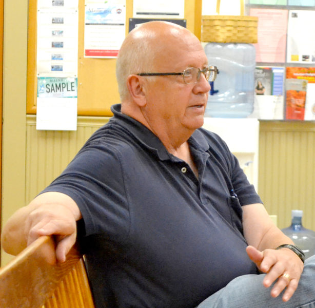 Bristol Fire Chief Paul Leeman Jr. talks about the fire department's use of the Bristol Mills swimming hole as a water source during a meeting with the Bristol Board of Selectmen on Wednesday, Aug. 24. (Maia Zewert photo)