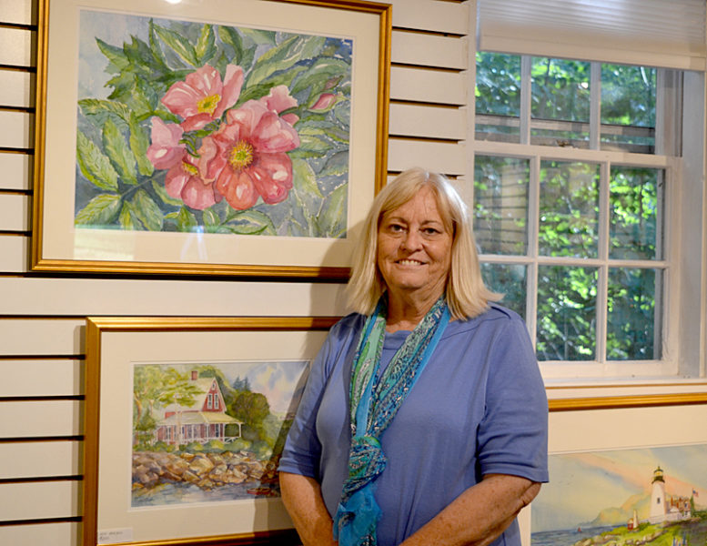 Artist Kathleen Horst was on hand to greet ArtWalk guests at Kathleen Horst Gallery on Bristol Road in Damariscotta on Aug. 19. (Christine LaPado-Breglia photo)
