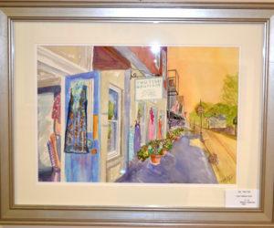 """Two Fish,"" Kathleen Horst's watercolor of the Two Fish boutique in downtown Damariscotta. (Christine LaPado-Breglia photo)"
