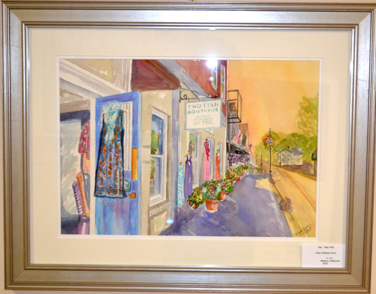 """Two Fish,"" Kathleen Horst's watercolor of the Two Fish boutique in downtown Damariscotta. (Christine LaPado-Breglia photo)"