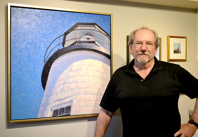 "Will Kefauver, oil painter and owner of Kefauver Studio & Gallery, with his painting titled ""Tower."" (Christine LaPado-Breglia photo)"