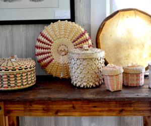 Handcrafted baskets from Passamaquoddy artisans are some of the products available at Abenaki Trading Co. on Route 1 in Edgecomb. (Abigail Adams photo)