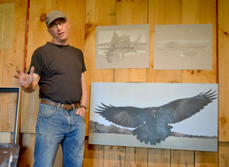 Bar Harbor painter Robert Pollien explains his process in the barn studio he occupied as a July artist-in-residence at the Joseph A. Fiore Art Center in Jefferson. (Christine LaPado-Breglia photo)