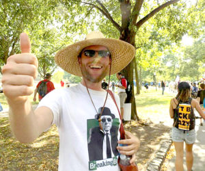 Boothbay Harbor Democratic Committee Chairman Brian Papineau gives a thumbs-up during protests of the Democratic National Convention in Philadelphia the last week of July. (Photo courtesy Brian Papineau)