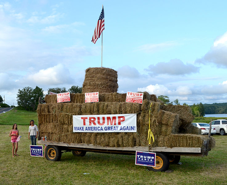 A Trump Tower of hay bales greets attendees of the Lincoln County Republican Committee's pig roast at Norman Hunt's property in Newcastle on Saturday, Aug. 20. (Maia Zewert photo)