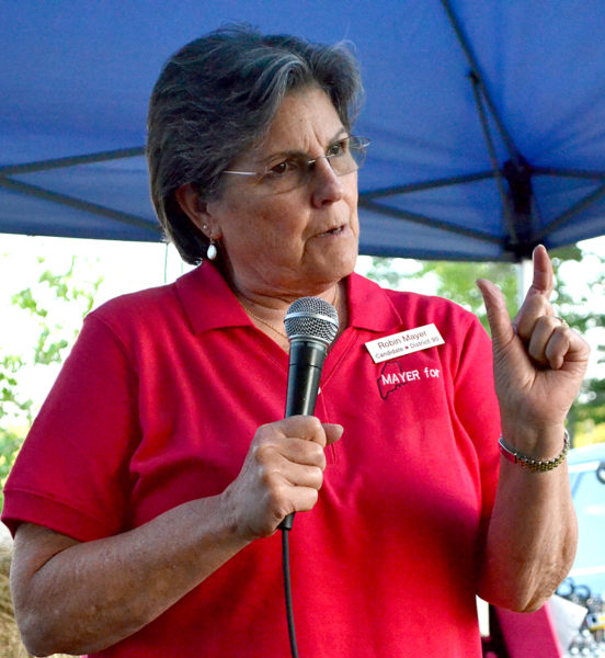 House District 90 candidate Robin Mayer, R-Damariscotta, talks about the importance of representing all residents of a district during the Lincoln County Republican Committee pig roast in Newcastle on Saturday, Aug. 20. (Maia Zewert photo)