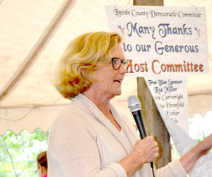 U.S. Rep. Chellie Pingree speaks to Democratic candidates and supporters during the Lincoln County Democratic Committee's annual lobster bake on Saturday, Aug. 13. (Abigail Adams photo)