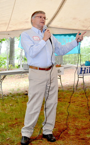 State Sen. Chris Johnson speaks of a comprehensive economic plan legislators plan to implement with or without the support of the governor at the Lincoln County Democratic Committee's annual lobster bake Saturday, Aug. 13. (Abigail Adams photo)
