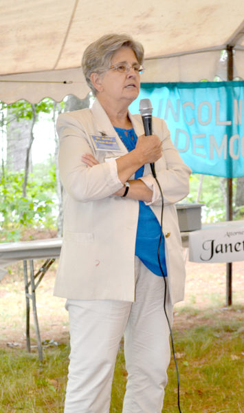 Dr. Emily Trask-Eaton will focus on jobs and health care during her campaign for House District 91, she said at the Lincoln County Democratic Committee's annual lobster bake Saturday, Aug. 13. (Abigail Adams photo)