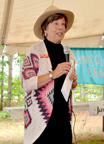 Wendy Ross speaks about her campaign to unseat incumbent District 87 Rep. Jeff Hanley, R-Pittston, during the Lincoln County Democratic Committee's annual lobster bake Saturday, Aug. 13. (Abigail Adams photo)