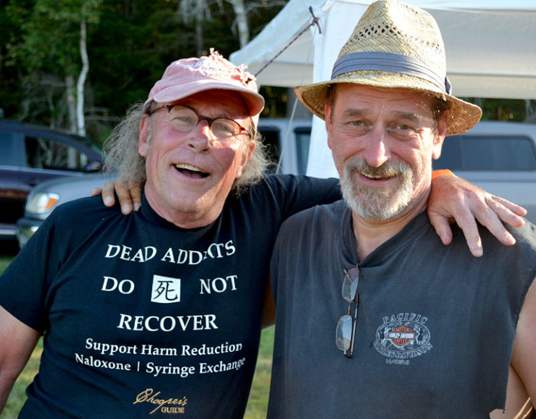 A collaboration between Chooper's Foundation founder Tim Cheney (left) and Rockers in Recovery co-founder John Hollis brought the Rockers in Recovery music festival to Cheney's Clark's Cove Farm in Walpole on Saturday, Aug. 27. (Abigail Adams photo)