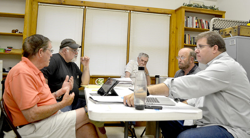 The Westport Island Time Warner Cable Contract Negotiation Committee meets at the town office Monday, Aug. 1. From left: Joe Donahue, Chairman Ross Norton, First Selectman George Richardson Jr., Jack Swanton, and Jason Kates. (Charlotte  Boynton Photo)