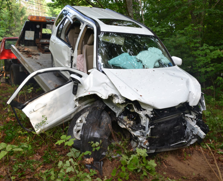 Extrication was needed to remove one of the occupants of this Honda SUV, following a two-car collision on Gardiner Road in Wiscasset at about 5 p.m. Friday, Aug. 12. (Abigail Adams photo)