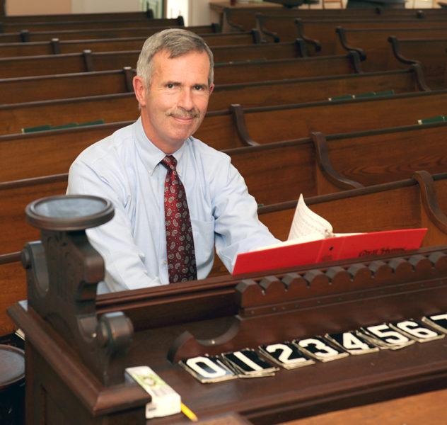 Mark Johnston has played the organ at Bunker Hill Baptist Church for 50 straight years. (Paula Roberts photo)