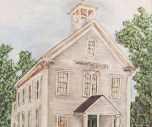 This new painting by Round Ponder Brenda Erickson shows what the school will look like with the weathervane installed.