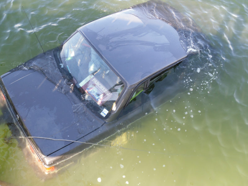 A car is partially submerged after going into the Pemaquid River off Hanna's Landing in Bristol the afternoon of Monday, Sept. 5. No one was in the vehicle when it went into the water, according to Lincoln County Sheriff's Deputy 1st Class Brian Collamore. (Photo courtesy Jeri Pendleton)