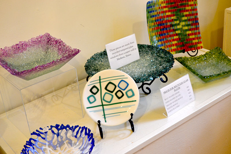 Pam Wilcox's colorful pieces made from recycled temepered glass grace one of the rooms at Saltwater Artists Gallery in New Harbor. (Christine LaPado-Breglia photo)
