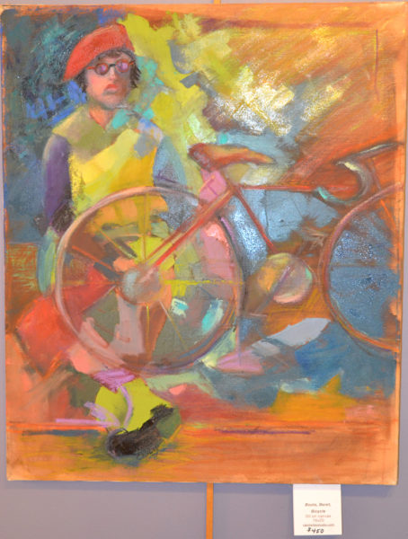 """Boots, Beret, Bicycle,"" an unframed oil painting by Carol Wiley. (Christine LaPado-Breglia photo)"