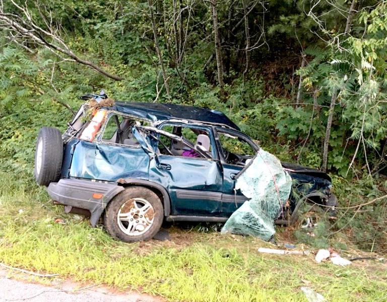 The driver of this 1998 Honda CRV sustained non-life-threatening injuries in a rollover on Route 1 in Damariscotta on Tuesday, Aug. 31. The Damariscotta Fire Department extricated her from the car. (Photo courtesy Damariscotta Police Department)